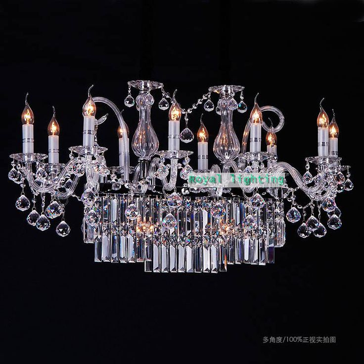 Большой прямоугольник светодиодные свечи хрустальная люстра освещение для столовой Ресторан большой led люстра современные люстры