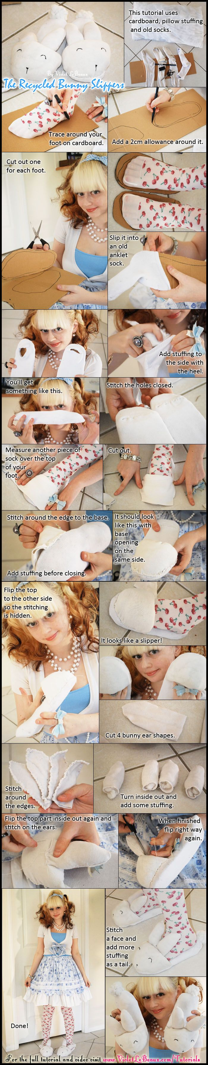 A simple tutorial on how to make bunny slippers out of old socks and pillows. My full old original tutorial over here: http://www.violetlebeaux.com/2010/01/tutorial-making-bunny-slipper-out-of-old-socks/