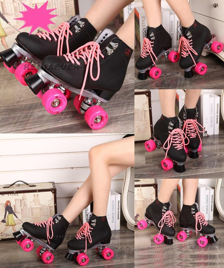 [Visit to Buy] Black Roller Skates Double Line Skates Men Women Lady Model Adult Pink F1 Racing 4 Wheels Two line Roller Skating Shoes Patines #Advertisement