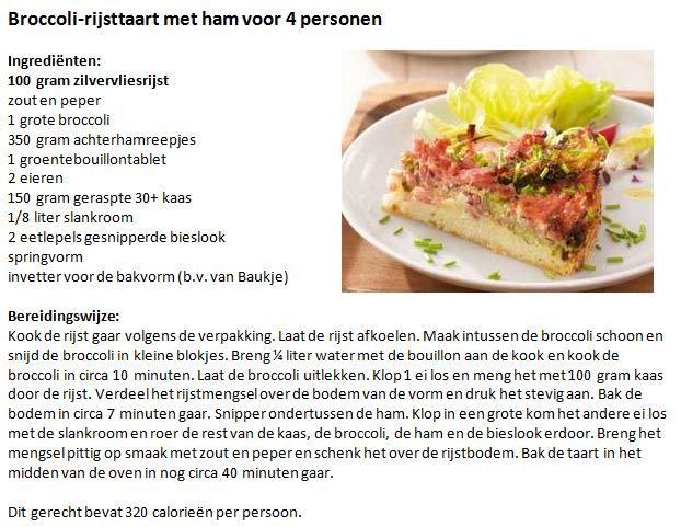 Broccoli-rijsttaart met ham