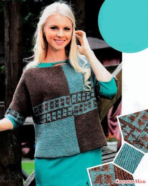 . Пуловер с цельновязаными рукавами  и жаккардовым узором