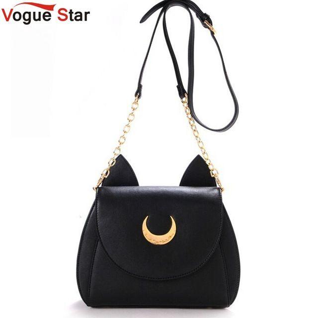 Vogue estrella! 2016 Summer limita Sailor Moon bolso para mujer del bolso negro gato blanco Luna Luna bolso Crossbody mujeres mensajero YA40-67