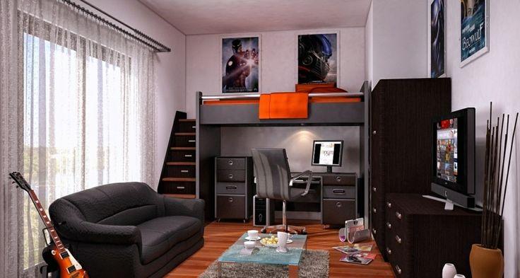 Jugendzimmer Ideen - Moderne Einrichtung aus dunklen Möbeln