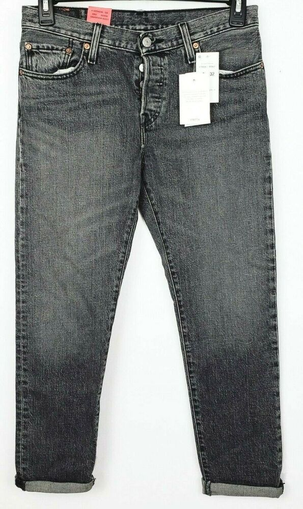 221af2a3b62 Levis 501ct Womens 27 Waist Tapered Gray Stretch Jeans Cropped Leg Button  Fly #Levis