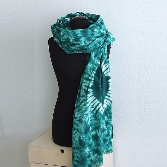 Cotton Mens Scarf, Batik Scarf, Green Mens Scarf, Womens Cotton Scarf Shawl, Bohemian Batik Large Scarf Wrap, Mens Gift for Him for Her by AJatelier on Etsy