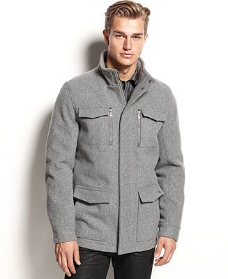 Calvin Klein Coat, Basic Wool Four Pocket Coat - Coats & Jackets - Men - Macy's