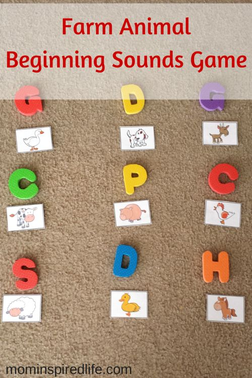 Evan has just started to recognize beginning sounds of words so I decided to use farm animals to work on this skill with him during our farm themed week of #playfulpreschool. I also made it a movement activity because the boy loves to move!