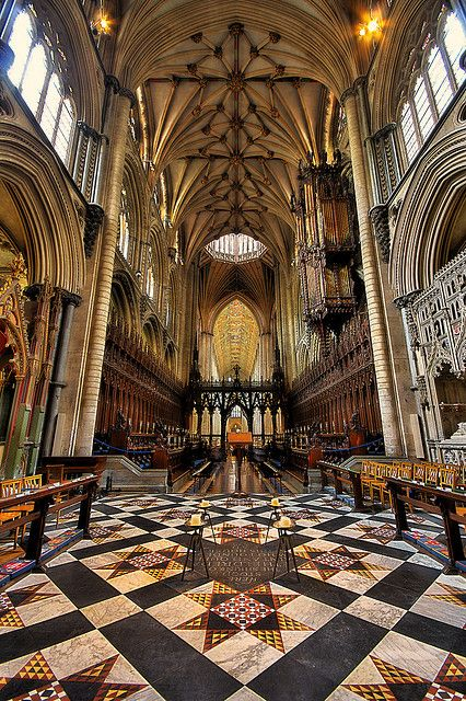 Ely Cathedral - Cambridgeshire, UK by nick.garrod, via Flickr.  The floor is spectacular!  Interesting how many cathedral floors have reappeared as quilt patterns.