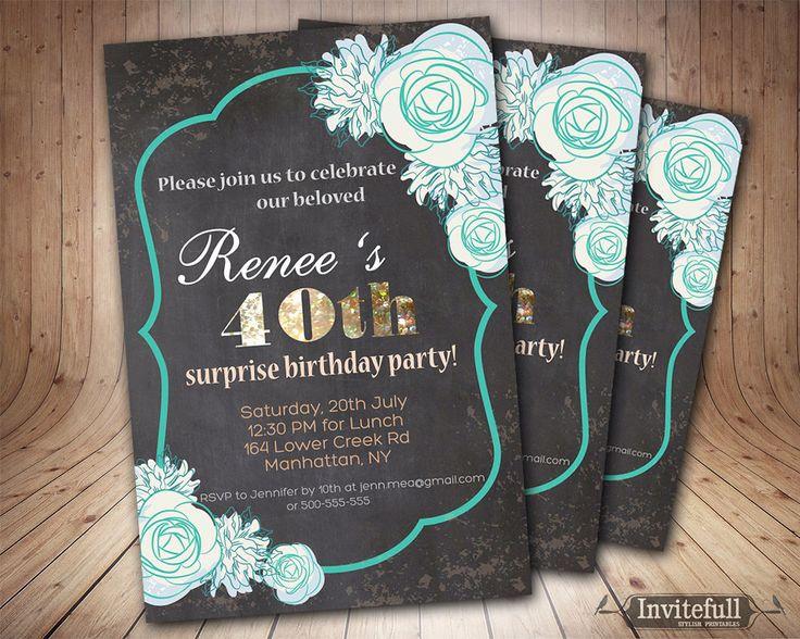 elegant 40th birthday invitation adult birthday invitation