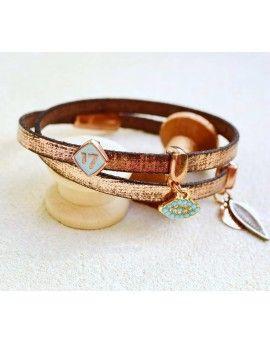 Βραχιόλι Lucky Charm Bronze Leather & Feather