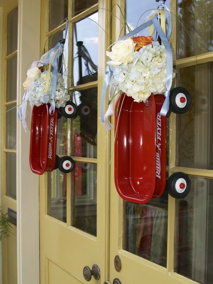 Red wagon themed baby shower | Wreaths/Front Door ...