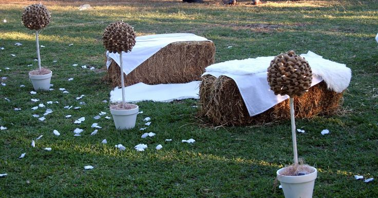 Hay bales used for guest setting at our ceremony.