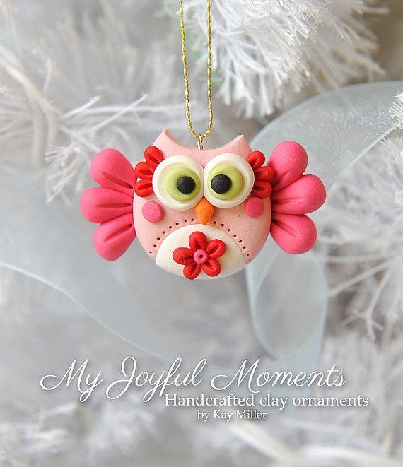 She sure is talented! Love the ornaments in her shop Handcrafted Polymer Clay Owl Ornament by Kay Miller on Etsy.