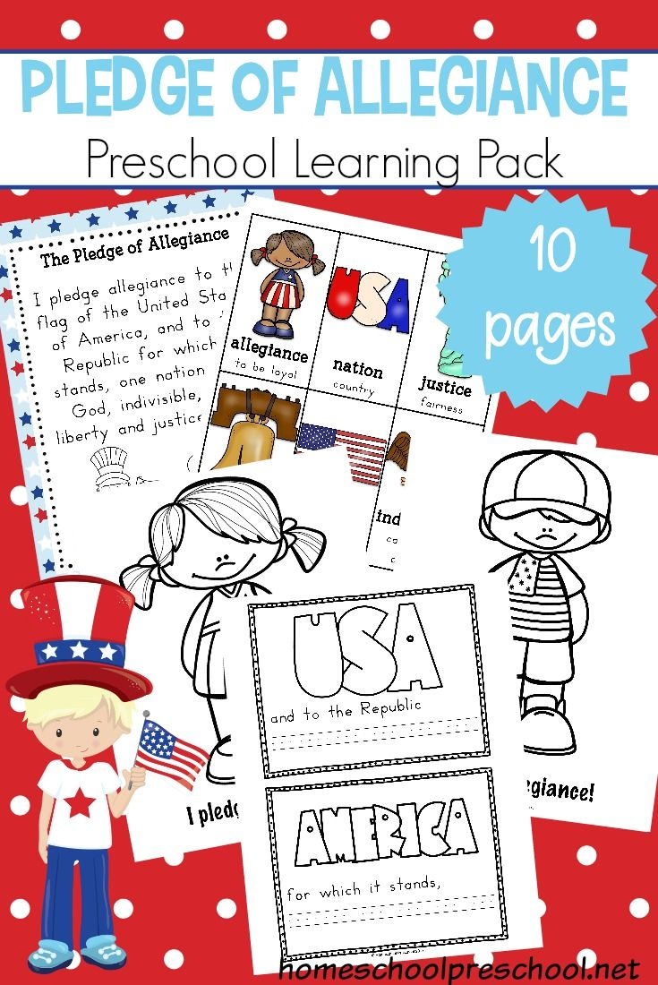 Free Preschool Pledge Of Allegiance Printable Teaching Lesson Plans What Doe Mean To Me Republic In Justice The