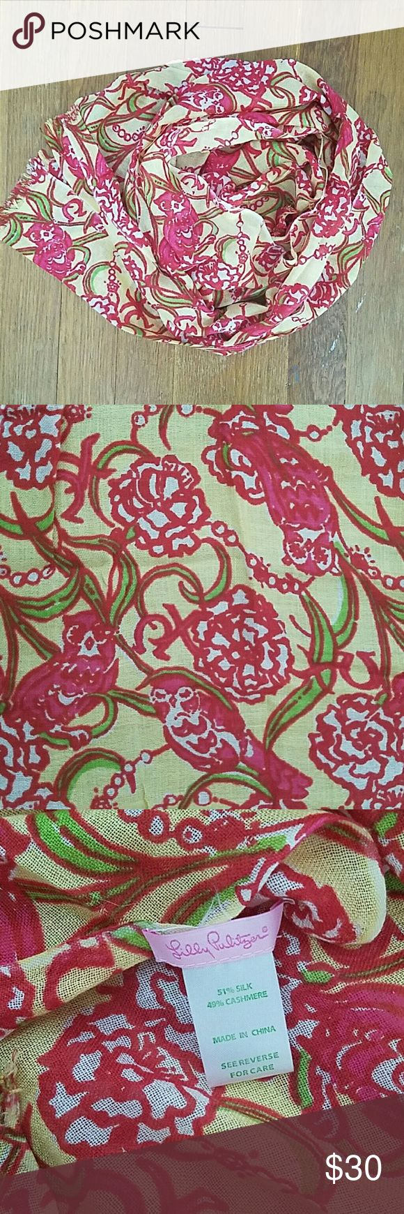 Lilly Pulitzer silk and cashmere Chi Omega scarf Perfect for any Chi O!! Wear it yourself or give it to your Big or Little for a special gift. This silk/cashmere blended murfette scarf has all the things we chi o's hold dear--an owl, a strand of pearls, carnations, and our beloved letters. Perfect condition!! From a smoke-free home:) Lilly Pulitzer Accessories