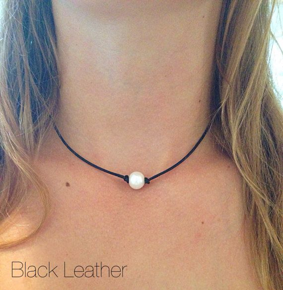 Leather Freshwater Pearl Choker by AlliesCharms on Etsy