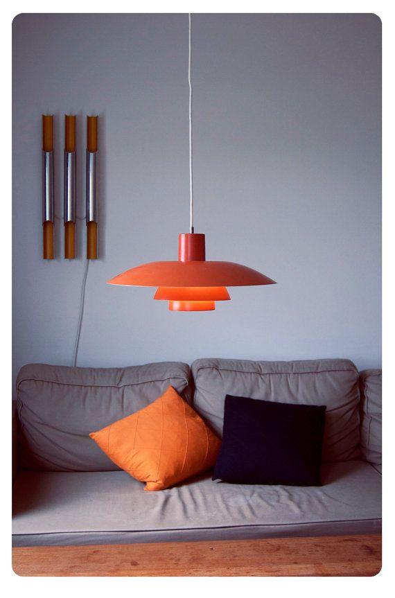 Orange Danish designer Poul Henningsen PH 4/3 pendant 1966. Gradient lighting.