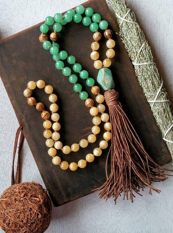 Yellow Calcite Prayer Beads Green Aventurine Prayer Beads