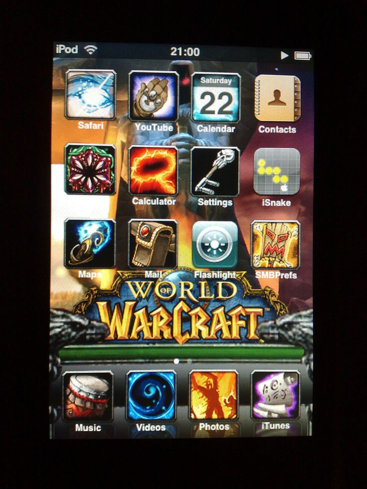 https://flic.kr/p/4f8dTc | iPod Touch World of Warcraft theme [Explored] | What do you get if you cross an iPod Touch owner with an avid World of Warcraft fan?  A World of Warcraft iPod Touch theme!  I downgraded the Touch to the 1.1.1 firmware, used Jailbreak on it, upgraded it to 1.1.2 firmware again, installed SummerBoard and OpenSSH.  Used PuTTY to log into the Touch via WiFi, copied the iPhone theme over, tweaked it a bit as the iTouch doesn't work in exactly the same way then fannied…