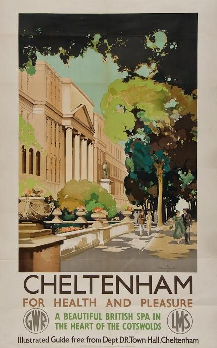 Vintage railway poster of Cheltenham promenade circa 1930 by Claude Buckle.#Cheltenham # Cotswolds