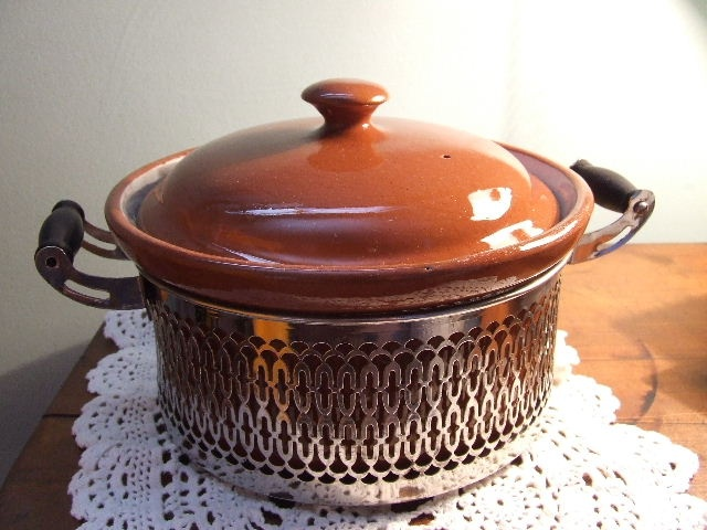 vintage earthenware and silver casserole form Hands Auction