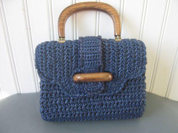 Vintage Purse Handbag Navy Blue Straw by accentonvintage on Etsy, 16 ...