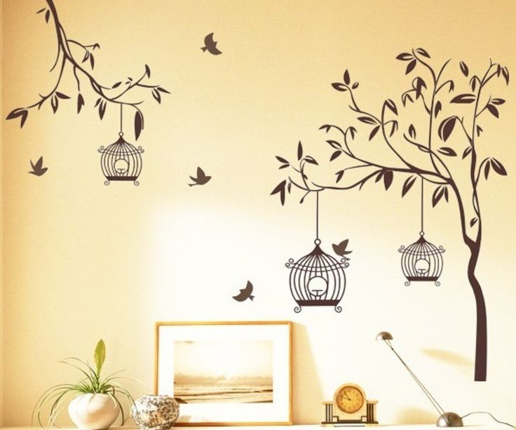 Buy StickersKart Wall Stickers Tree With Birds And Cages Brown - Yellow bird wall decals