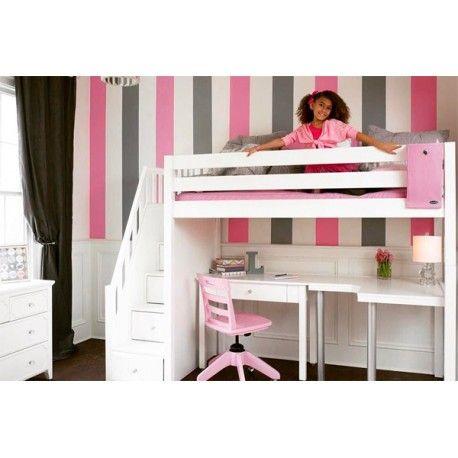Maxtrix High Loft Bed w/Staircase, Corner Desk & Study Desk.  check this option and other BEDSMART Furniture at www.bedsmart.ca#bunkbed #kidsroom#boysroom#girlsroom#kidsdecor#interiordesign#kidsinsparation#kidsroomwithstyle#bedsmart#bedwithstorage#smallspaceliving#shopping#toronto