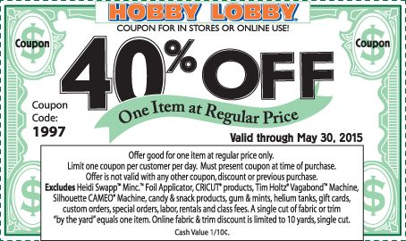 Pinned May 29th: 40% off a single item at Hobby #Lobby or online via promo code 1997 #coupon via The #Coupons App