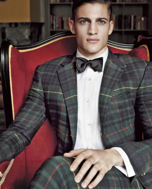Tartan suit, bow tie and tailored white dress shirt.