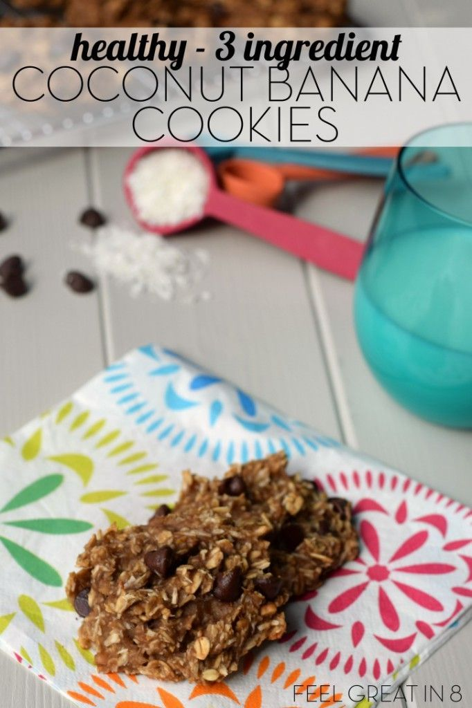 You only need 3 healthy real food ingredients to make these yummy {gluten free, sugar free, dairy free} 3 Ingredient Coconut Banana Cookies. So healthy, they are even perfect for breakfast or an after school snack! | Feel Great in 8 - Healthy Real Food Recipes