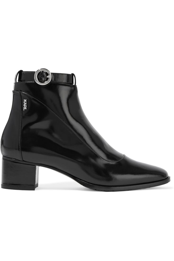 Karl LagerfeldPolished-leather ankle boots