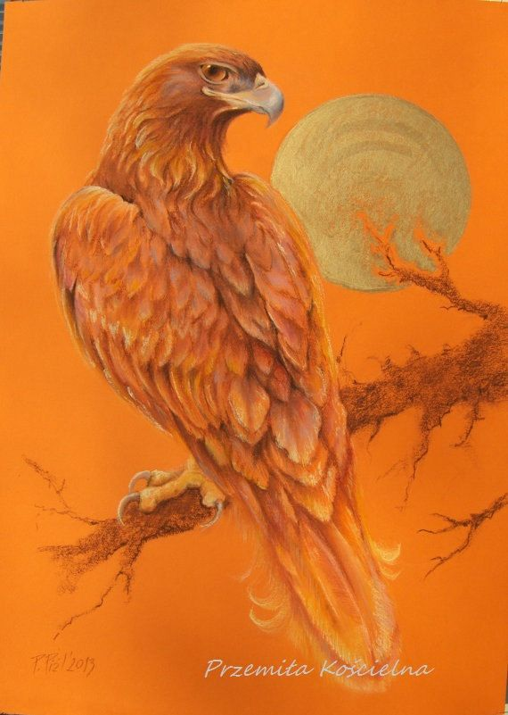 GOLDEN EAGLE Animal Art Wildlife ORIGINAL Pastel by CanisArtStudio