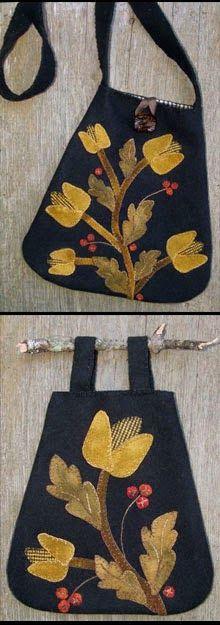Thistle Dew Wool Applique 2 Patterns in 1 Gathering Bag & Shoulder Bag