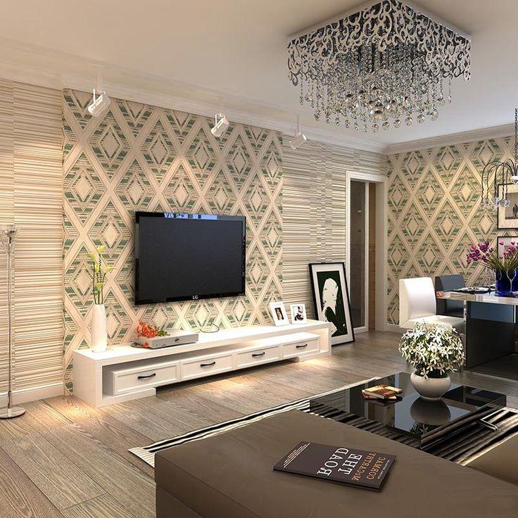 Moderno 3D anaglifo flocado papel pintado no tejido diamante patrones geométricos, estudiar la paredes del salón(China (Mainland))