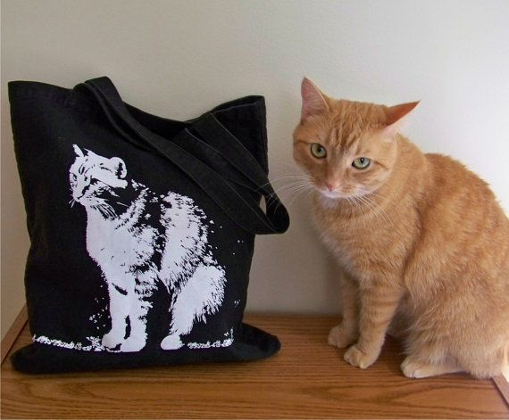 Cat tote bag / canvas silkscreen tote bag / gift for her