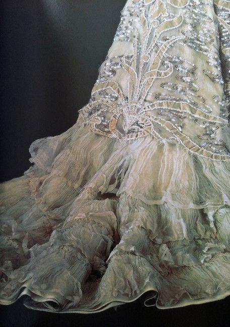 dress detail 1877 | dinner dress, Charles Frederick Worth, 1877, via The Met