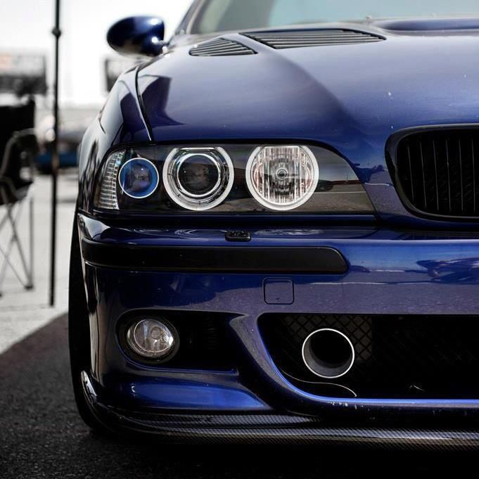 E39 M5 beautiful blue, sink drain mod, projector headlights, vented hood, black out grill