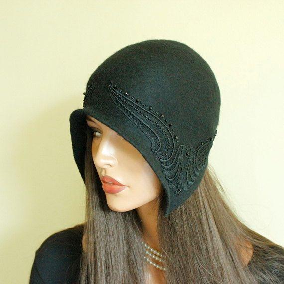 Black hat Great Gatsby Size 21 Black cap decorated by ZiemskaArt