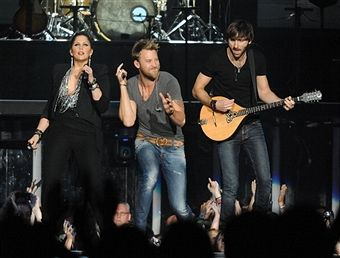 Charles Kelley, Hillary Scott and Dave Haywood of Lady Antebellum perform at the Arena at