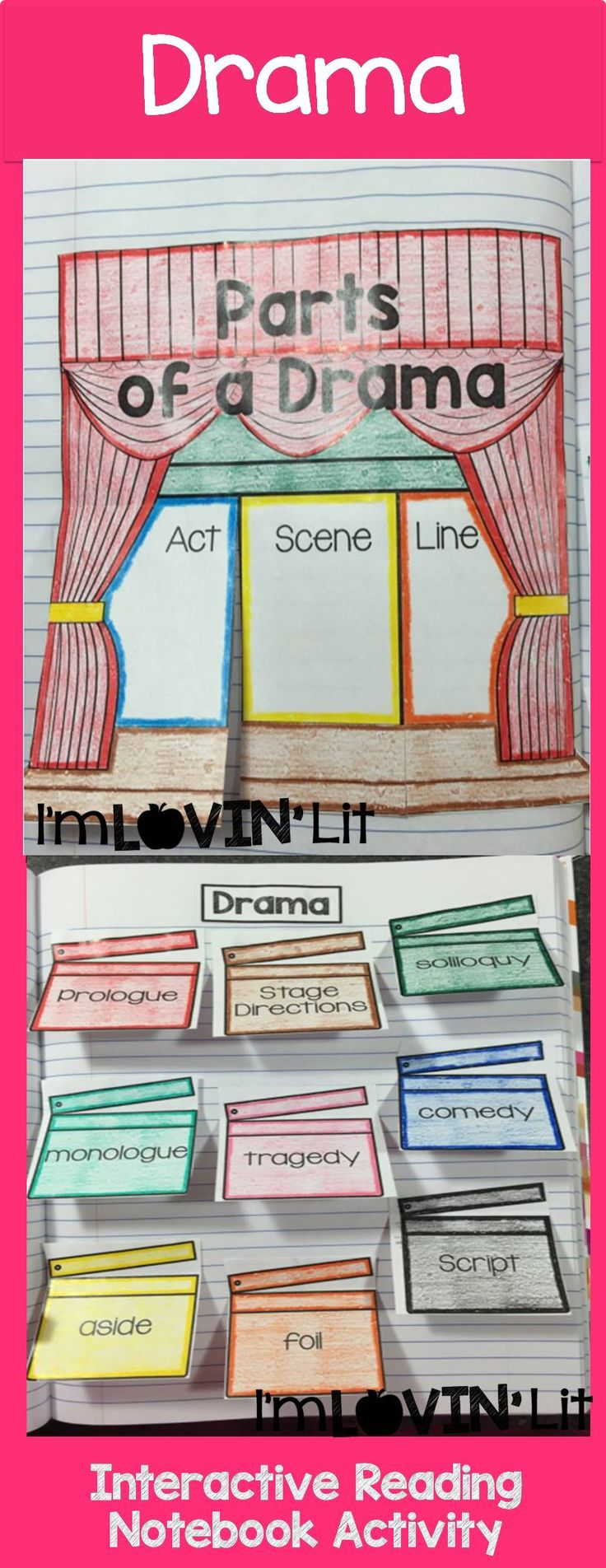 Drama Foldable, Drama Interactive Notebook Activity by Lovin' Lit from the ALL NEW Interactive Reading Literature Notebooks, Part 2