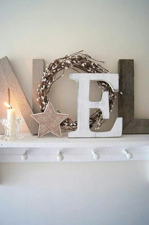 Noel. Cute idea. Wooden letters painted red with a small green wreath would also like nice. Decoupage different patterns of Christmas scrapbook paper or wrapping paper on wood letters is another idea.