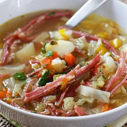 """#Corned #Beef #Cabbge #Vegetable #Soup.  Now we just need the """"pot O #Gold!!!!!!!!!: Corn Beef, Corned Beef, Cabbages Soups Recipes, Cabbage Soup, Beef Soups, St. Patrick'S, Cornedbeef, Soups Stew, Cabbages Leek"""