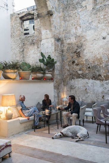 Italy - Apulia | People having a drink at Blanc shop and bar,Gallipoli