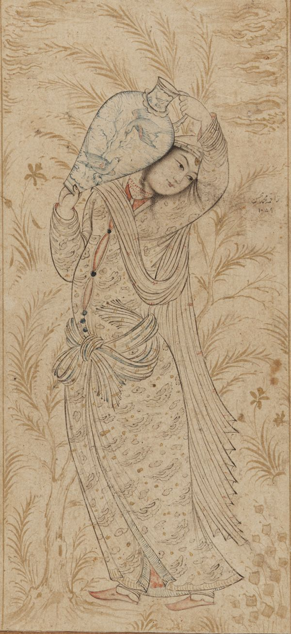 A woman carrying a large jar 1649 Muhammad Muhsin Safavid period Ink and color wash on paper H: 21.1 W: 10.1 cm Isfahan, Iran F1912.99