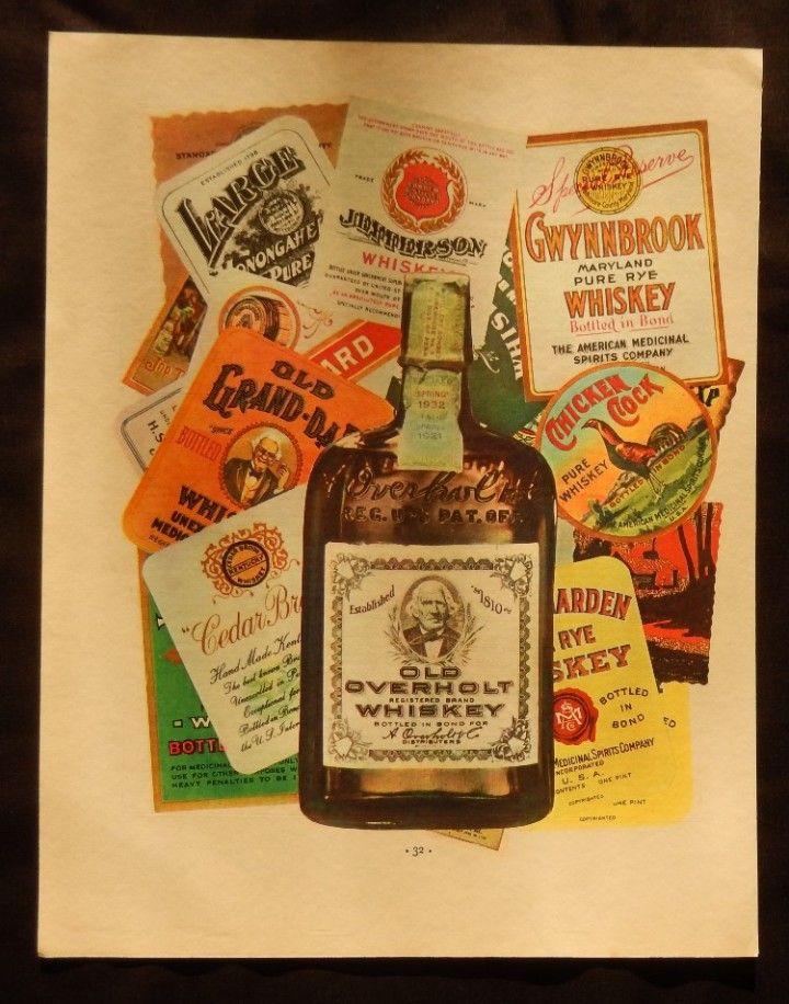 Old Overholt Whiskey original print ad 30 s color Illustration   1933 Fortune magazine art