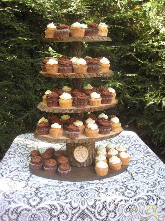 rustic wedding cake and cupcake ideas cupcake stand rustic wedding wood dessert bar 5 tier x 19519