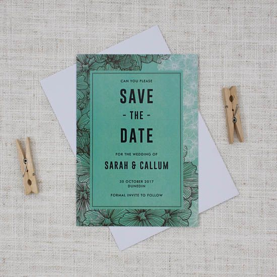 This gorgeous mint green and brown Save the Date is akin to an after dinner mint chocolate, and just as sweet.
