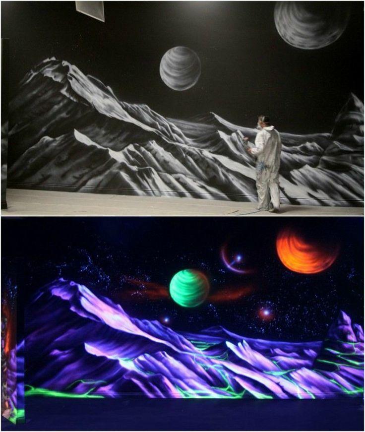 fluoreszierende Farben Wanddeko Tag und Nacht