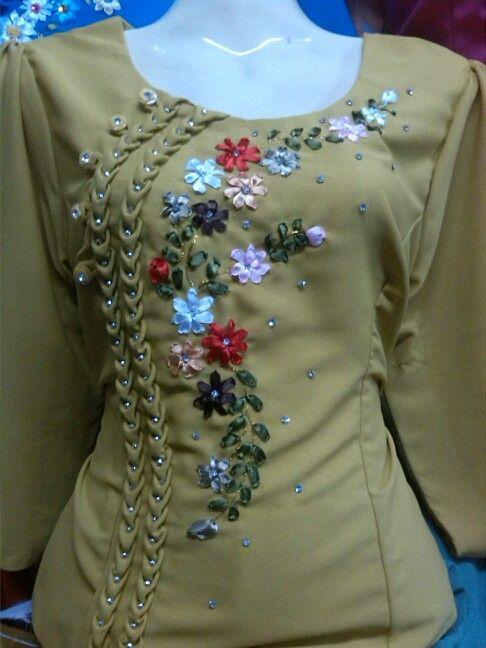 ribbon embroidery+ribbon trim